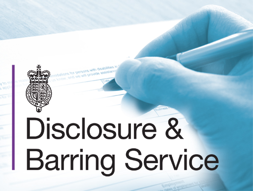 Picture Disclosure & Barring Service logo with hand filling in form