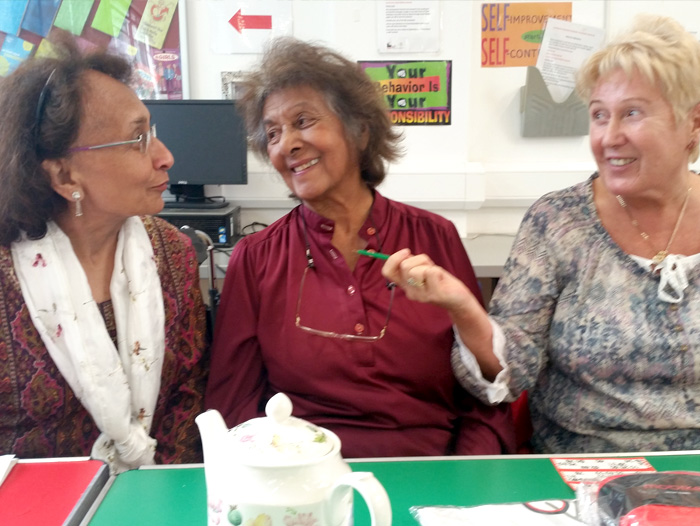 Picture of three women at Masbro Afternoon Tea Club