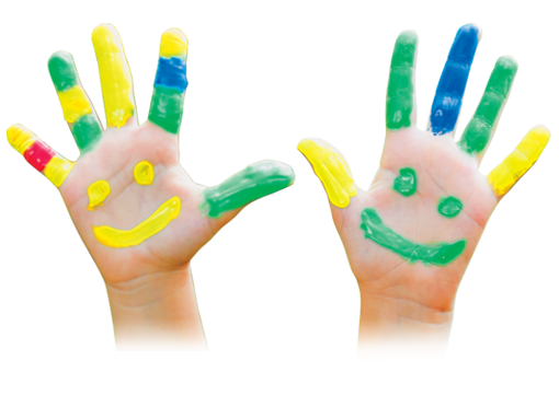 Picture of child's pair of painted hands with smiles on palms