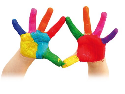 Picture of child's pair of painted hands in primary colours
