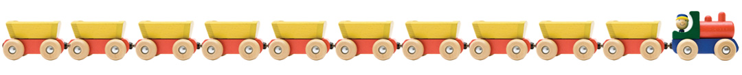 Picture of a painted wooden train set toy
