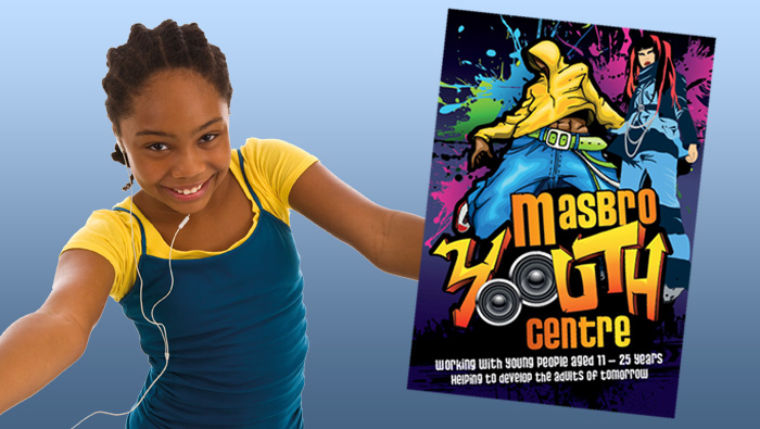 Picture of Masbro Youth club leaflet with girl on blue background