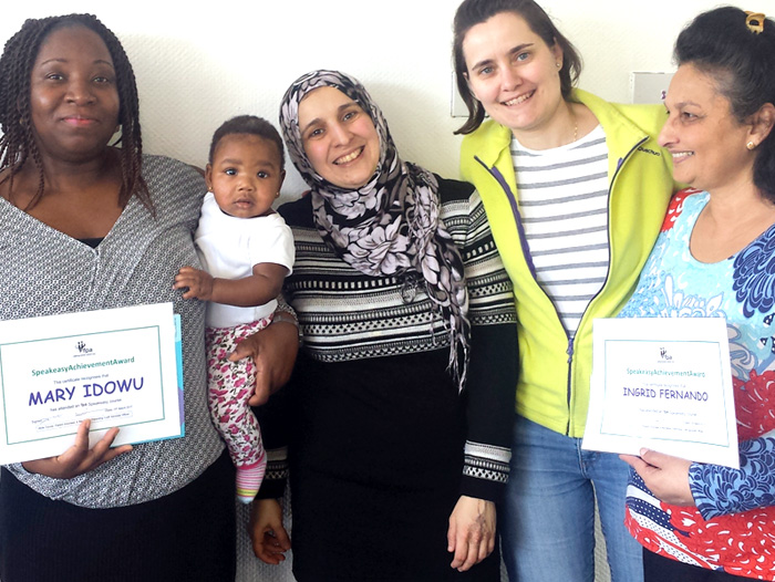 Picture of four parents/carers with certificates after completing Confident Parent Happy Child Course