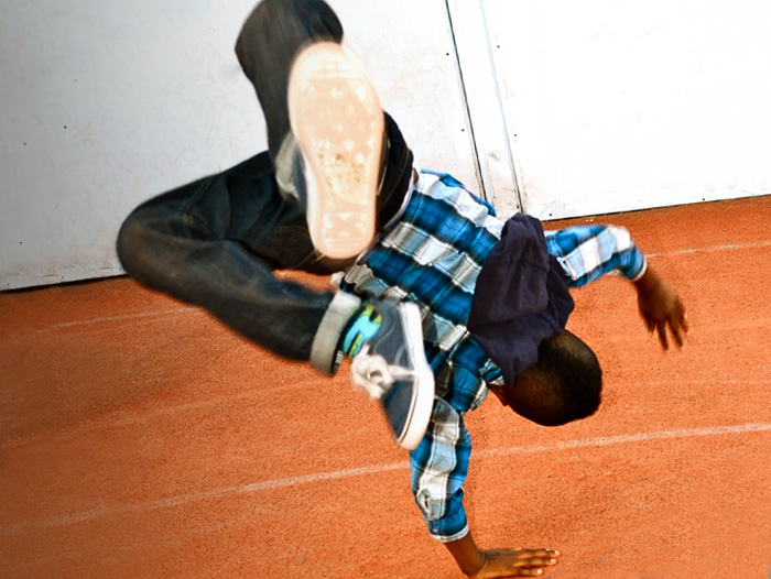 Picture of young boy street dancer performing at Masbro