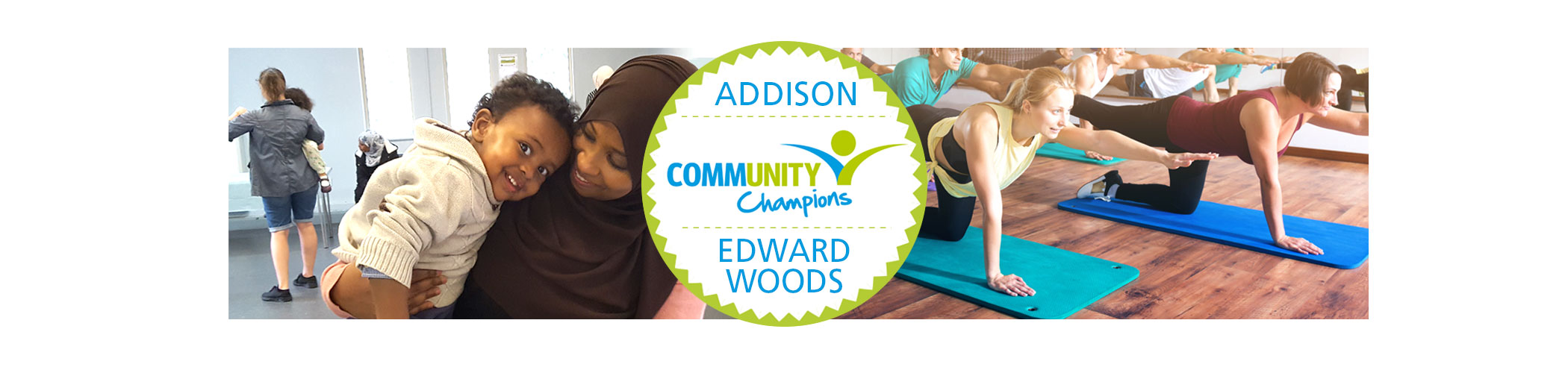 Addison and Edward Woods Community Champions page iphone banner